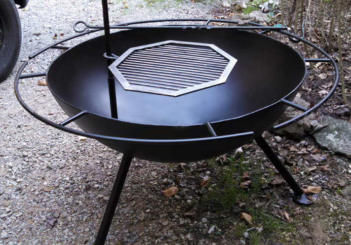 Custom Steel Bowl Fire Pit with Grill, Brad Greenwood Designs - Custom Steel Fire Pit W/Grill Brad Greenwood Designs