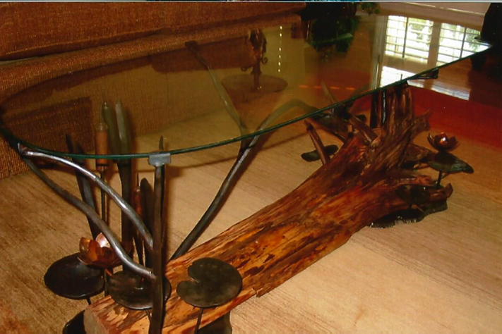 Coffee Table with Glass Top, Steel, Copper, Cedar, Glass, Brad Greenwood Designs