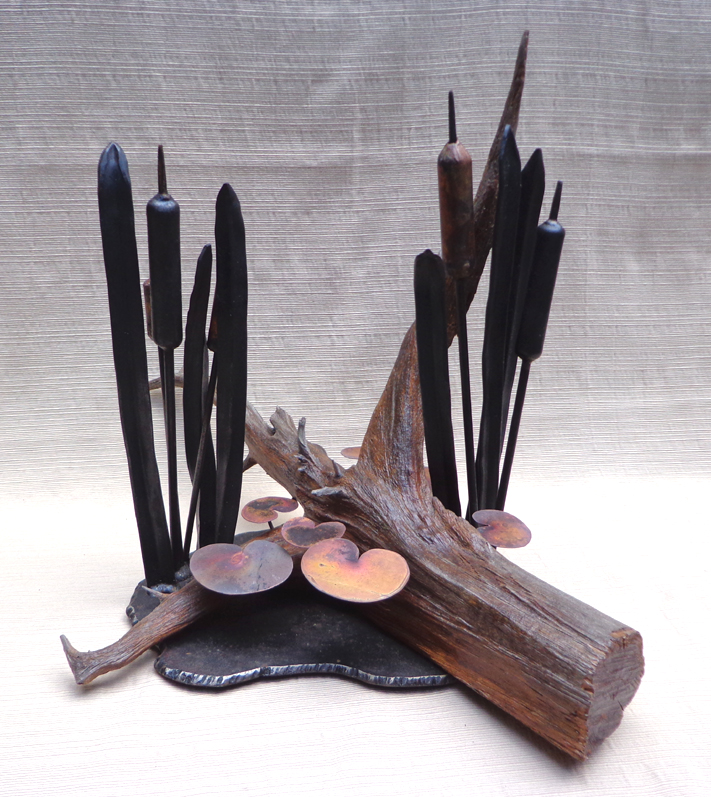 Cattails & Cedar Stump Sculpture