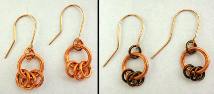 Ear Rings, Copper, Bronze, Mixed Media