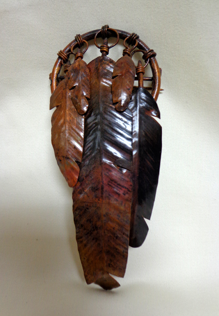 Feather Broach/Pin in Copper