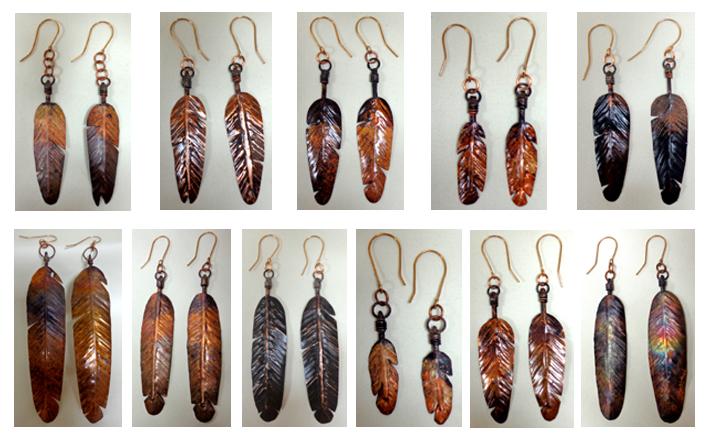 Feather Earrings in Copper