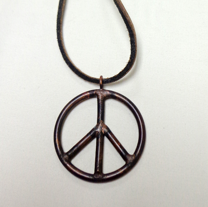 Copper Peace Sign Pendant Necklace