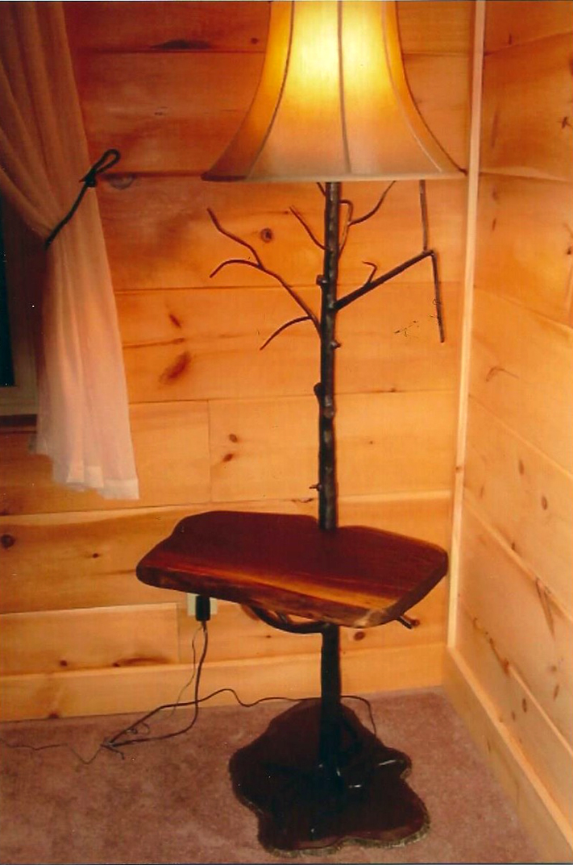 Floor Lamp w/Table, Steel & Walnut, Brad Greenwood Designs