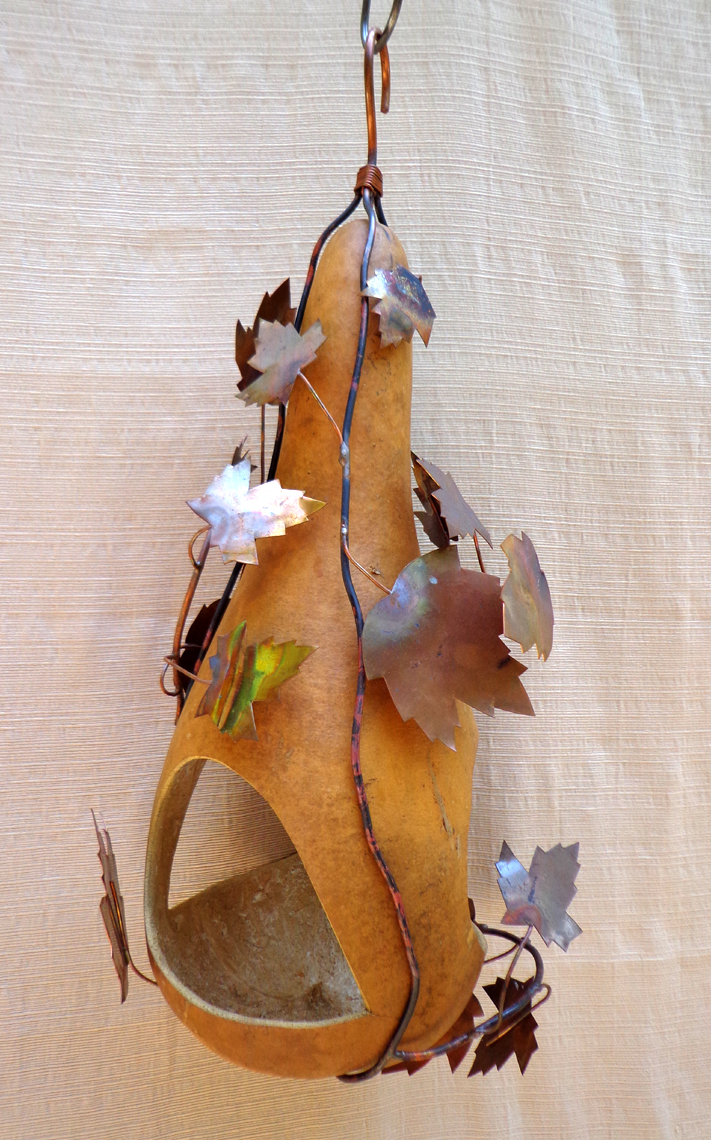Gourd Bird Feeder with Copper Leaves