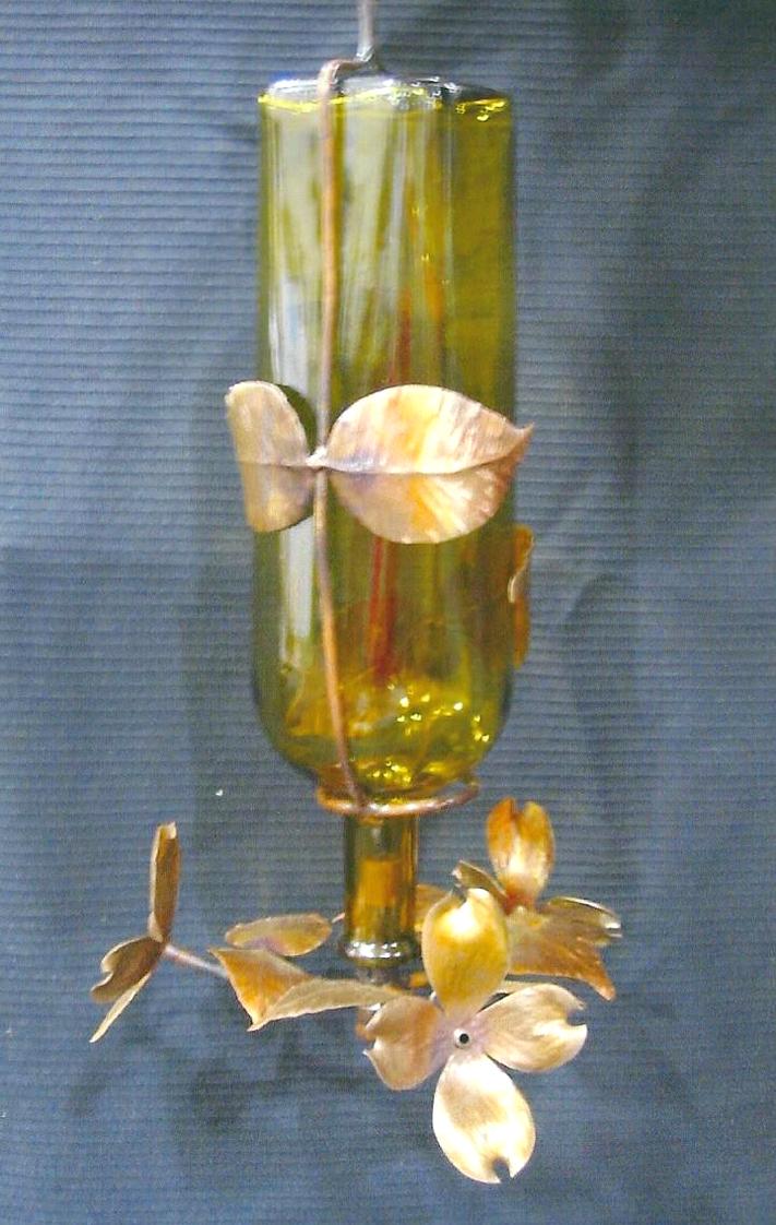 Hummingbird Feeder, Copper, Wine Bottle, Brad Greenwood Designs