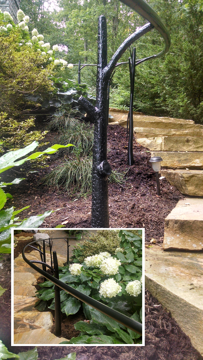 Outdoor Handrails with Tree Posts:BradGreenwoodDesigns.com