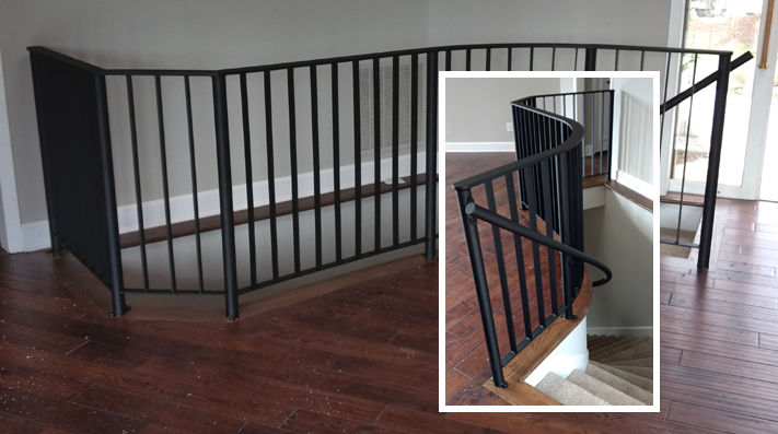 Banister railing for stairs:BradGreenwoodDesigns.com
