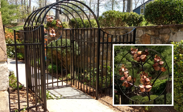 Entry Gate & Fencing with Copper Dogwoods: BradGreenwoodDesigns.com