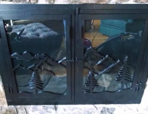 Custom Mountain Fireplace Doors